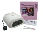 Glamourpuss Boutique® 36W UV Nail Lamp for Nail Curing (Ice White) + 4 x 9W Bulbs -NEW 2014 EDITION- Includes FREE Glamourpuss Boutique® Crystal Glass Nail File - High Quality Professional CE Approved - Order by 2pm weekdays for SAME DAY DESPATCH