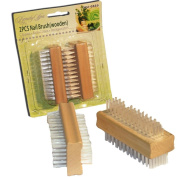 2 FINGER NAIL MANICURE WOODEN SCRUBBING EXFOLIATING BRUSH BRUSHES PEDICURE FEET