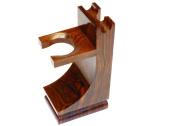 Quality Wood Shaving Razor and Shaving Brush Stand.Walnut Finish