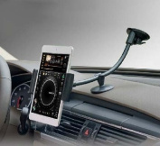 Car Dashboard Windshield Suction Mount,Two Clip for 8.9cm - 14cm iPhone and 7-20cm Tablets iPad Mini