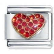 Multi Red Gem Heart Italian Charm Fits Nomination Classic