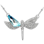 Le Premium® Dragonfly Open Wings Crystal Pendant Necklace MADE WITH. ELEMENTS Crystals Aquamarine Blue Stone White Gold Plated + Original Le Premium® Gift Box