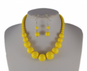 Jays Jewellery - Yellow Graduated Bead Necklace with matching earring