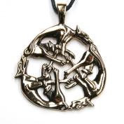 Celtic Dogs Bronze Pendant Necklace Jewellery, incl black cotton sting, Pendant total length