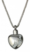 Foot Prints on Heart Urn Pendant - Memorial Ash Keepsake - Cremation Jewellery