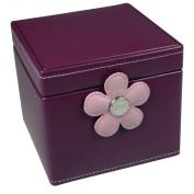 Boutique Zoe Purple Leatherette Polka Dot Lined Jewellery Box