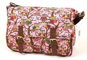New Womens Oilcloth or Canvas Satchel Handbag Ladies Messenger Cross Body Shoulder Bag in Owl Butterfly Rose Print CB159