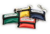 CPR FACE SHIELD KEY RING POUCH WITH CPR INSTRUCTIONS
