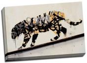 Banksy Tiger Graffiti Canvas Art Print Framed Picture Large 50cm x 80cm A1