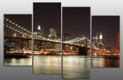 """Extra Large New York at Night Canvas artwork 4 pieces multi panel split canvas completely ready to hang, hanging template included - 5 feet wide, wall space 63"""" width 44"""" height"""