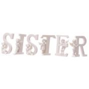 White Cherub S I S T E R Letters - Set of 6 Letters