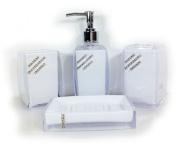 Bathroom Accessory Set 4 piece Soap Dish Dispenser Tumbler Toothbrush Holder diamante 3 colours