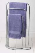 3 TIER CHROME TOWEL STAND RACK CHROME BOW FRONTED NEW
