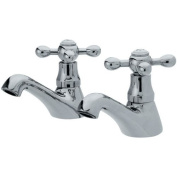 Victorian Crosshead Traditional Chrome Bathroom Basin Sink Hot and Cold Taps Chrome