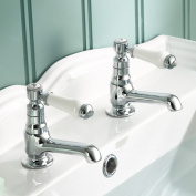 Traditional Twin Basin Sink Hot and Cold Taps Pair Chrome Bathroom Faucet.TB134