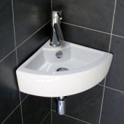 Europa Topax 1TH Contemporary Ceramic Bathroom Wall Hung Corner Basin Sink 4299