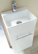 Salina Mito White Square Basin Wall Hung Cloakroom Furniture Vanity Unit Compact Mini 330 X 290