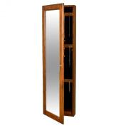 Wood Wall Mount Jewellery Mirror, Oak