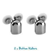 Replacement Shower Door Bottom Fixing Wheels in Chrome - Fits Glass 4-6mm