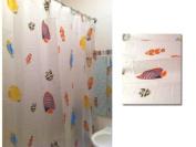 NEW QUALITY FISH DESIGN PEVA BATHROOM BATH SHOWER CURTAIN WITH HOOKS 180 x 200cm