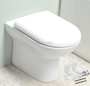 D Shaped Compact Back to Wall Toilet Pan WC BTW Short Projection Soft Close Seat