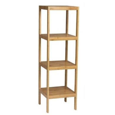 Wooden Bamboo Bathroom Storage 4 Tier Towel Rack Narrow Shelf Unit
