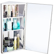 Homcom Stainless Steel wall mounted Bathroom Corner Mirror Storage Cabinet Single Door 300mm