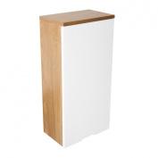 Premier Housewares Wall Cabinet with Oak Effect/ High Gloss, 62 x 30 x 19 cm, White