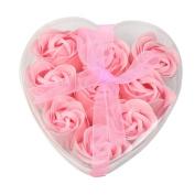 9pcs Bath Body Flower Heart Favour Soap Rose Petal Wedding Decoration Gifts - Pink