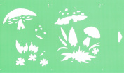 30cm x 17.5cm Reusable Flexible Plastic Stencil (2 STEPS) for Cake Design Decorating Wall Home Furniture Fabric Canvas Decorations Airbrush Drawing Drafting Template - Wild Mushrooms
