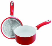 Ibili Vital Ceramic Saucepan Diameter 14 cm Height 6.5 cm Suitable for Induction and Vitro Cookers Red / White