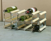 Classic 15 bottle pine wood and galvanised metal wine rack self assembly