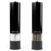 Andrew James Large Stainless Steel Electric Salt And Pepper Mill Set In Piano Black, Illuminates as it Grinds - Includes 2 Year Warranty