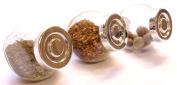 3X Double bottom Glass Spice and herb storage Jars