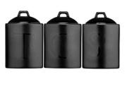 Black Text Ceramic Tea Coffee Sugar Utensil Biscuit Salt & Pepper Jar Canister Storage Set