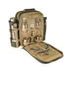 Greenfield Collection Super Deluxe Two Person Picnic Backpack Hamper - Forest Green