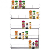 VonShef 5 Tier Spice Rack Organiser Chrome Plated (Easy Fix) For Herbs and Spices | Suitable for Wall Mount or Inside Cupboard