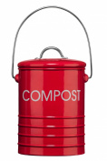 Premier Housewares Compost Bin with Handle, Red