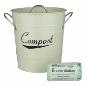 Cream Kitchen Compost Caddy & 50x 6L All-Green Biobags - Composting Bin for Food Waste Recycling
