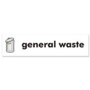 Stewart Superior Recycling Bin Sticker General Waste 900x50mm Self Adhesive Vinyl White Ref BS005