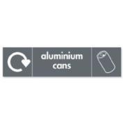 Stewart Superior Recycling Bin Sticker Aluminium Cans 900x50mm Self Adhesive Vinyl Grey Ref BS003