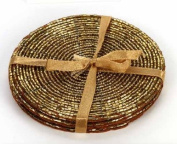 Set of 4 Gold Beaded Coasters , Birthday, Christmas, Any Occasion Gift