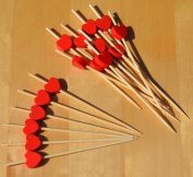 Red Heart Cocktail Sticks wood skewers 9cm x 100