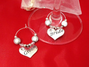 Set of 2 ~ Bride & Groom Wine Glass Charms by Libby's Market Place