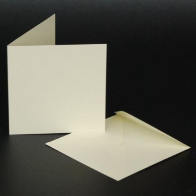 Craft UK blank greeting cards & envelopes - square 10cm x 10cm ivory colour x 50