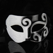 Black & White Roman Greek Mens Venetian Halloween Costume Party Masquerade Mask