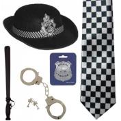 British WPC Police Cop Woman Hat Tie Badge Truncheon Cuffs Fancy Dress 5Pc Set BY