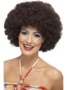 BLACK POP WIG Curly Afro 70s Scouse Fancy Dress Costume