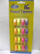 16 x PENCIL TOPPERS ERASERS CARDED PARTY BAGS FETE TOMBOLA SCHOOL PLAYGROUP NEW.