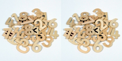 60 Natural Wooden Numbers + 2 Of Each Symbols +-x÷=, Supplied By Kids B Crafty